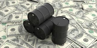 Oil barrels on one hundred dollars banknotes. 3d illustration. Black oil barrels on one hundred dollars banknotes. 3d illustration royalty free illustration