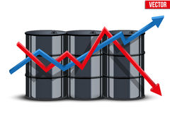 Oil barrels on the price chart background Stock Photo