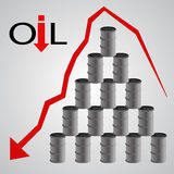 Oil barrels pyramid with red arrow eps 10 Royalty Free Stock Image