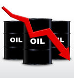 Oil Barrels And Red Arrow Chart On White Background, Down Trend Royalty Free Stock Images
