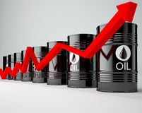 Oil Barrels with Red Arrow Stock Image