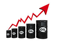 Oil Barrels with Red Arrow Stock Photography