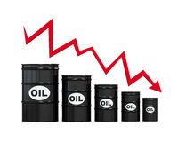 Oil Barrels with Red Arrow Stock Images