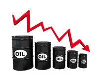 Oil Barrels with Red Arrow Royalty Free Stock Image