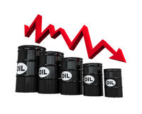 Oil Barrels with Red Arrow Royalty Free Stock Photos