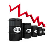 Oil Barrels with Red Arrow Royalty Free Stock Images