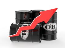 Oil Barrels with Red Arrow Up. Stock Photo