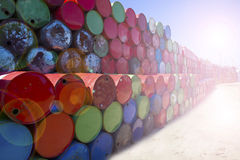 Oil barrels. Refinery neatly stacked oil cans Royalty Free Stock Image