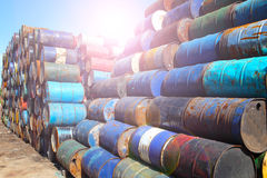 Oil barrels. Refinery neatly stacked oil cans Stock Photo