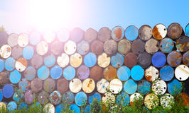 Oil barrels. Refinery neatly stacked oil cans Stock Photography