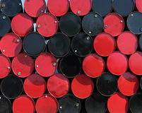 Oil barrels. Refinery neatly stacked oil cans Royalty Free Stock Photo