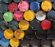 Oil barrels. Refinery neatly stacked oil cans Royalty Free Stock Images