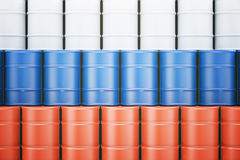 Oil barrels with Russian flag royalty free illustration