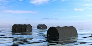 Oil barrels in the sea. 3d illustration Royalty Free Stock Image