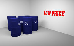 Oil barrels. Several 3D blue drums/barrels and write text low price on the wall, 3d rendering stock illustration