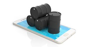Oil barrels on a smartphone on white background. 3d illustration. Black oil barrels on a smartphone isolated on white background. 3d illustration Royalty Free Stock Image