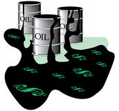 Oil barrels in spill Royalty Free Stock Image