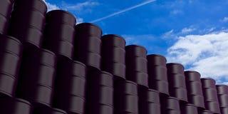Oil barrels stack on blue sky background. 3d illustration royalty free illustration