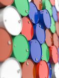 Oil Barrels Stacked Up. Stock Photos
