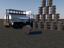 Oil barrels and tanker Royalty Free Stock Image