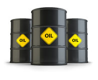 Oil barrels. Three oil barrels. 3d image. Isolated white background Stock Images