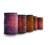 Oil barrels on white Stock Photo