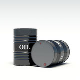 Oil barrels on a white background Stock Images