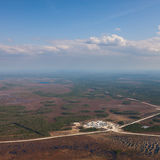 Oil base on oilfield in West Siberia, top view Royalty Free Stock Photo