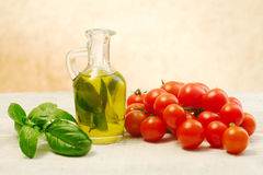 Oil, basil and tomato Stock Photography