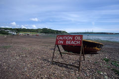 Oil on Beach Royalty Free Stock Photo