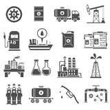 Oil Black White Icons Set Stock Images