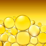 Oil bubbles background. Yellow water bubbles abstract light illumination. Vector. 3d illustration Royalty Free Stock Images