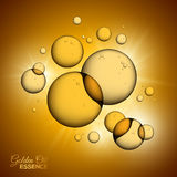 Oil Bubbles on Yellow Background with Shining Rays Stock Photo