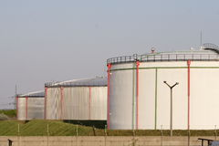 Oil bunkers. In an industrial park Royalty Free Stock Photography