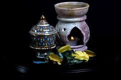 Oil Burner Close Up. Oil Burner with Thai Cup Stock Photos