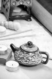 Oil Burner Kettle. Home Fragrance Oil Burner Kettle in Black and white Royalty Free Stock Images