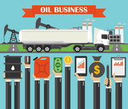 Oil business concept design flat with gasoline tanker car Royalty Free Stock Photo