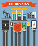 Oil business concept design flat ,with hands Stock Photography
