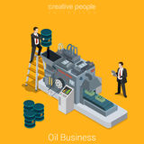 Oil business process flat 3d isometric industry conveyor vector Stock Images