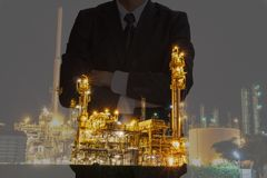 Oil business success. Business people success a contract with the crisis, oil price fluctuate stock photography