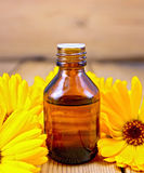 Oil with calendula on board Royalty Free Stock Photo