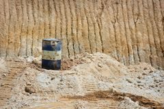 Oil can on sand mines Royalty Free Stock Photo