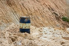 Oil drum on sand mines Stock Image