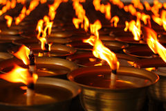 Oil candles in a Chinese temple.  Stock Images