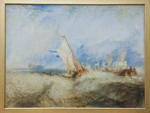 William Turner, Ships at Sea, 1844, Getty Center. Oil on canvas from English Artist Joseph Mallord William Turner - 1775 - 1851,  on view in Getty Center, Los Stock Photography