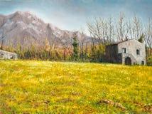 Oil on canvas of a farmhouse stock illustration