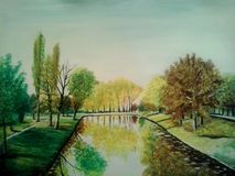 Oil on canvas  forest with lake. Oil on canvas lake in city park Royalty Free Stock Photography