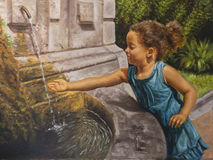 Oil on canvas of a little girl near a fountain Stock Photography