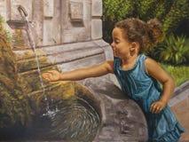 Oil on canvas of a little girl near a fountain. Little girl near a fountain vector illustration