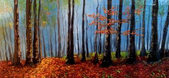 Oil on canvas  mystic forest. Beautiful painting mystic fores oil on canvas Royalty Free Stock Photography